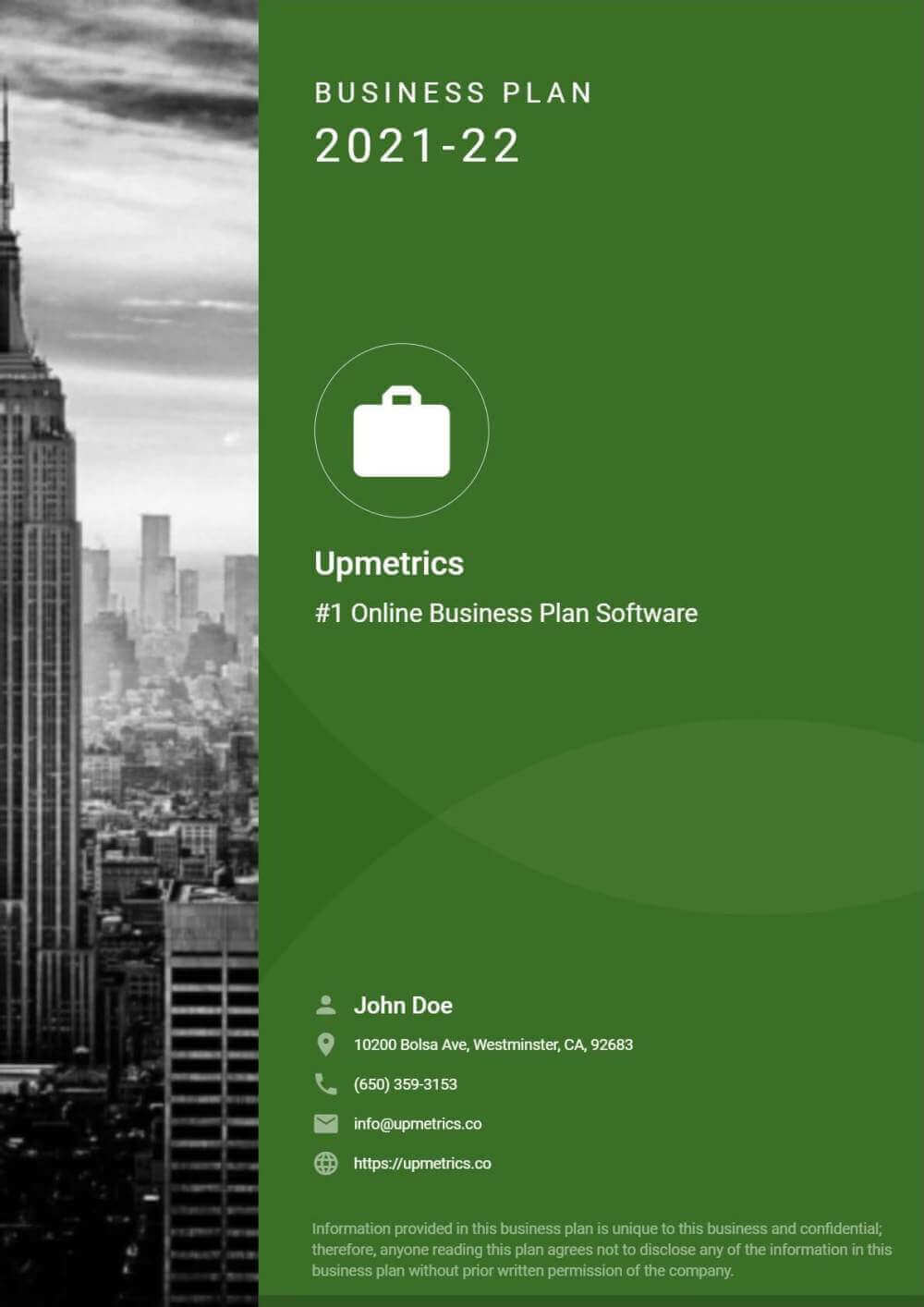 Business Plan Cover Page Design